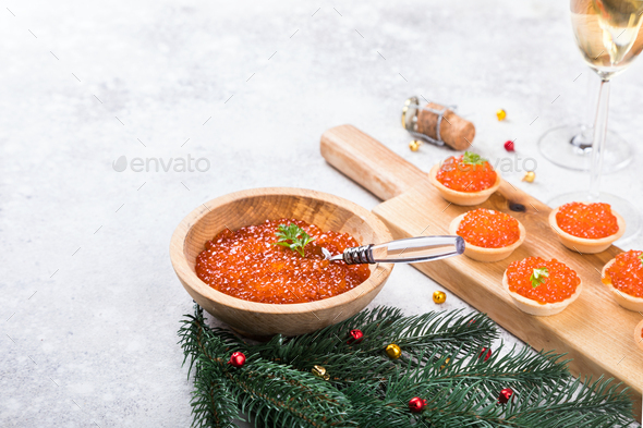 Christmas and New Year holidays composition. Red Salmon Caviar - Stock Photo - Images