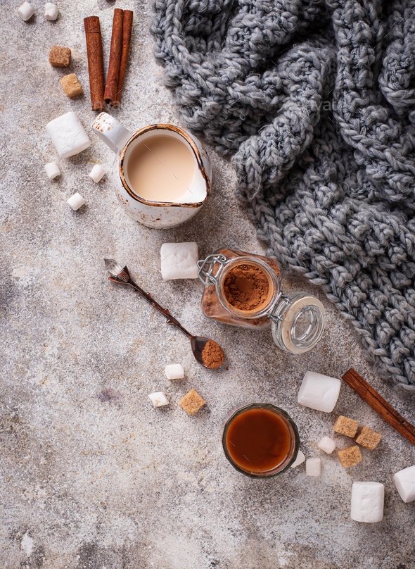 Ingredients for cooking hot chocolate or cocoa - Stock Photo - Images