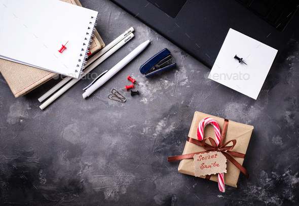 Secret Santa. Christmas celebration in the office - Stock Photo - Images