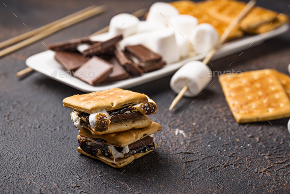 Homemade s'mores with crackers, marshmallows and chocolate - Stock Photo - Images