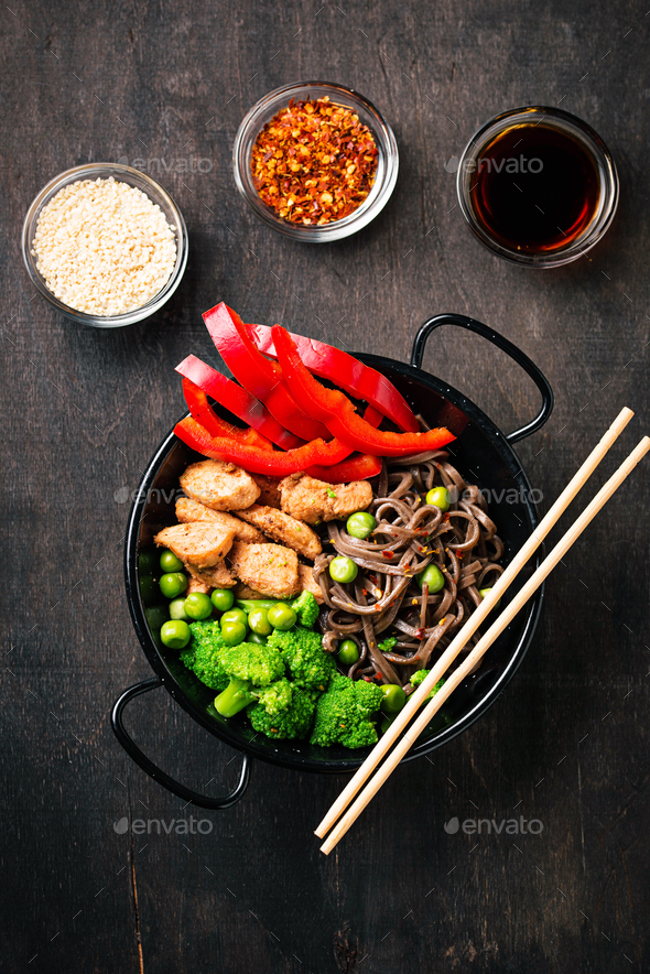 Stir fry soba with meat and vegetables - Stock Photo - Images