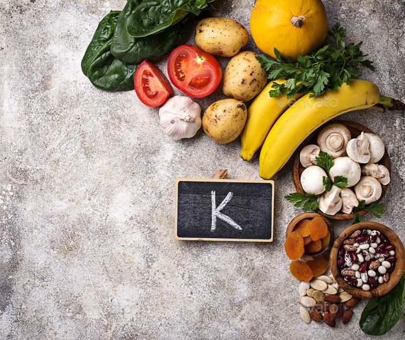 Products containing potassium. Healthy food concept - Stock Photo - Images