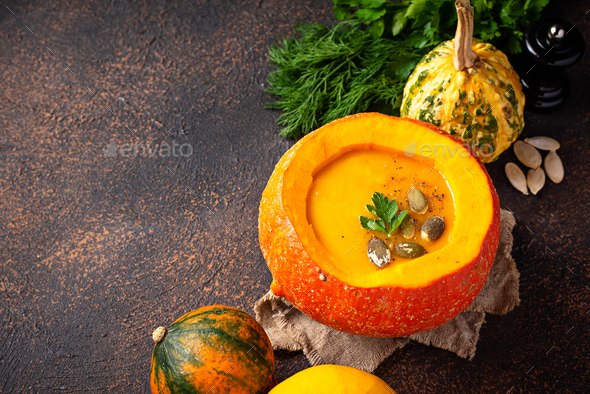 Vegetarian autumn  pumpkin cream soup - Stock Photo - Images
