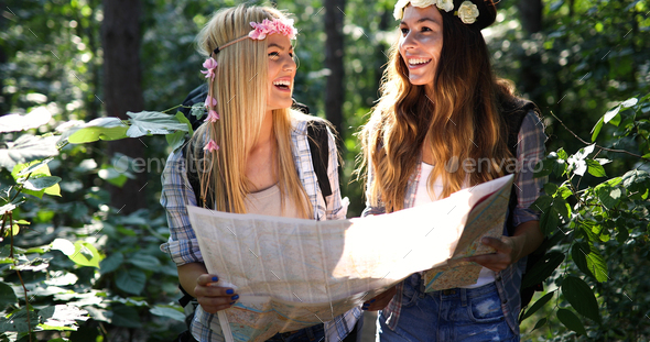 Beautiful young women spending time in nature - Stock Photo - Images