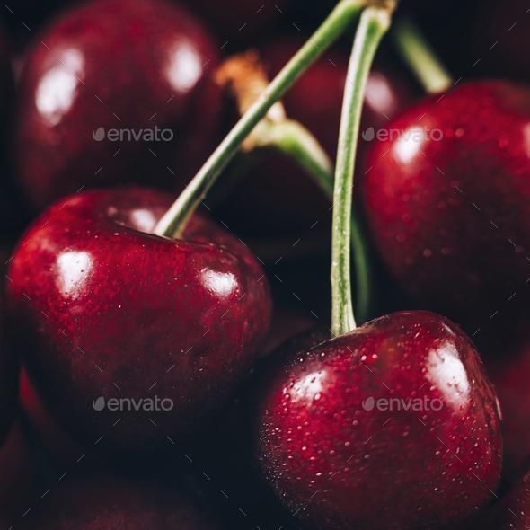 Cherries Macro Close Up - Stock Photo - Images