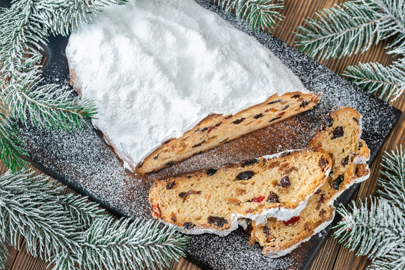 Stollen - traditional German Christmas bread - Stock Photo - Images