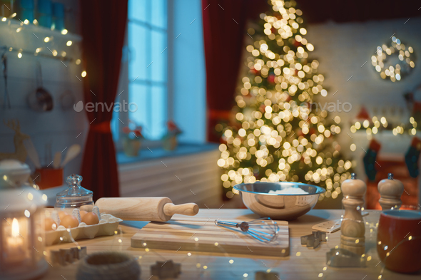 kitchen  decorated for holidays. - Stock Photo - Images