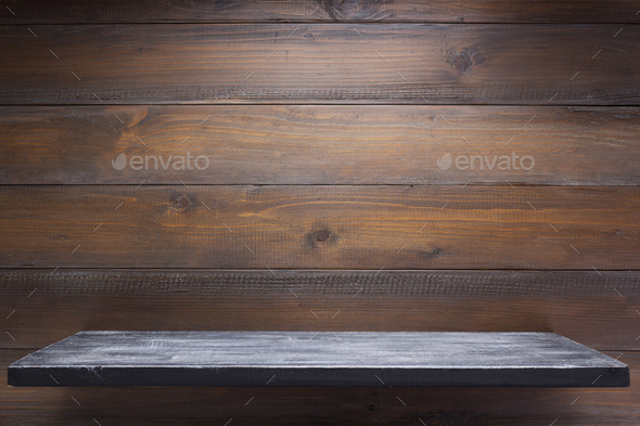 wooden shelf at wall - Stock Photo - Images