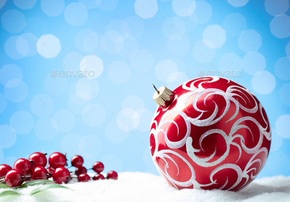 Christmas balls and blurred lights - Stock Photo - Images
