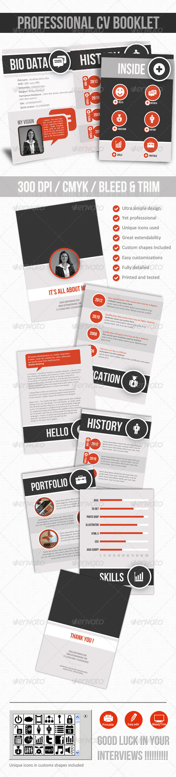 Professional CV Booklet - Resumes Stationery
