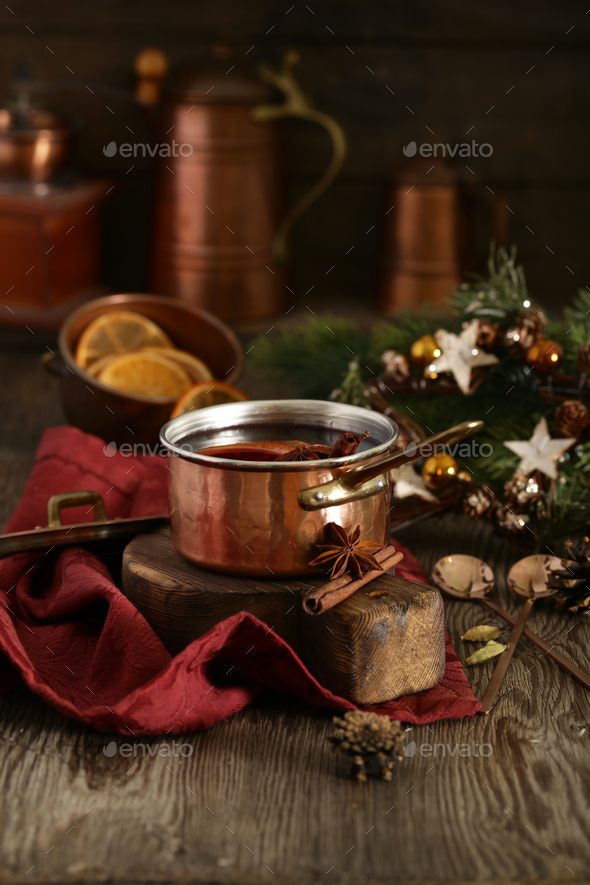 Mulled Wine With Spices and Orange - Stock Photo - Images