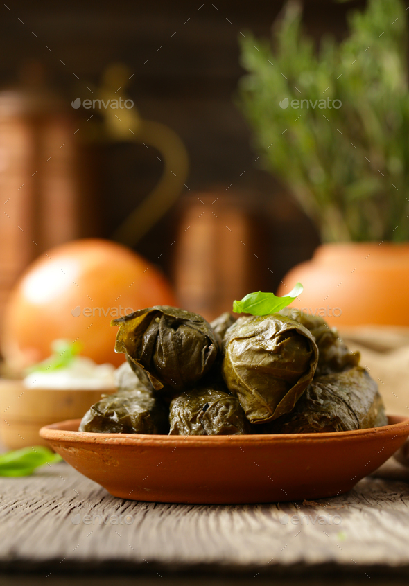 Dolma Food in Grape Leaves - Stock Photo - Images