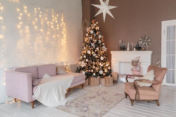 Winter home decor. Christmas tree in loft interior. Old vintage furniture  Stock Photo by kopachinsky