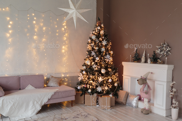 Living room with old furniture with Christmas decor - Stock Photo - Images