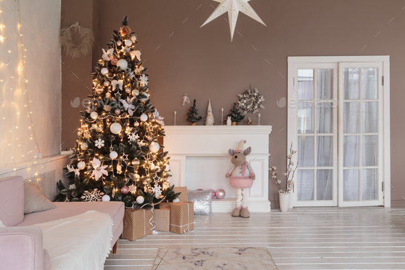 Winter home decor. Christmas tree in loft interior. Old vintage furniture - Stock Photo - Images
