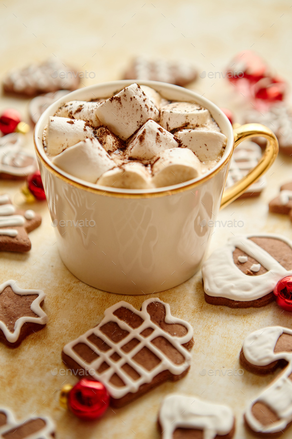 Cup of hot chocolate and Christmas shaped gingerbread cookies - Stock Photo - Images