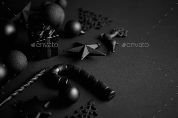 Christmas minimalistic and simple composition in mat black color - Stock Photo - Images