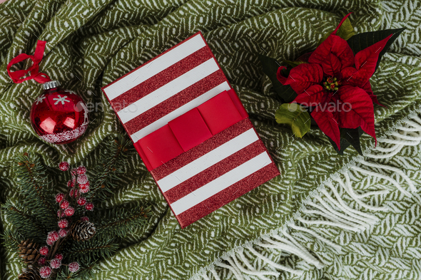 Christmas themed gift box with a poinsettia - Stock Photo - Images