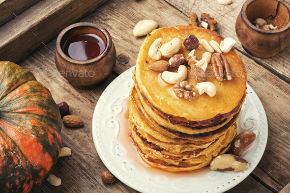 Pancakes with maple syrup - Stock Photo - Images