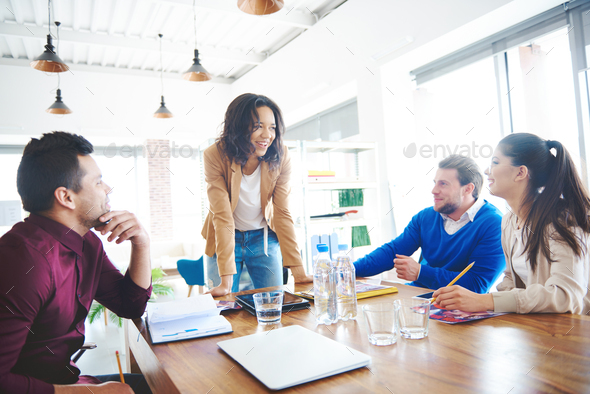 Female manager with business team - Stock Photo - Images