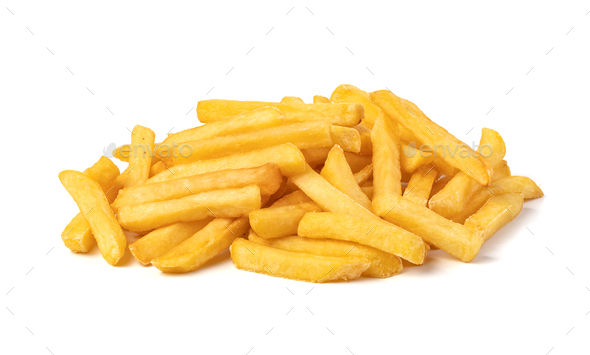 french fries on white background - Stock Photo - Images