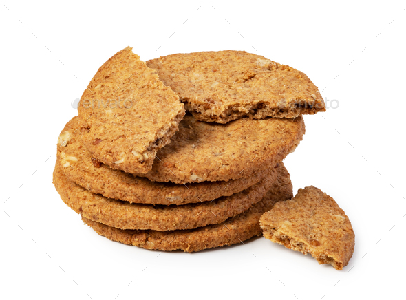 Oatmeal Cookie on a white background - Stock Photo - Images