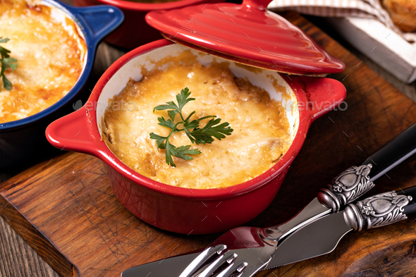 Chicken Stew with Cheese Baked in Pot - Stock Photo - Images