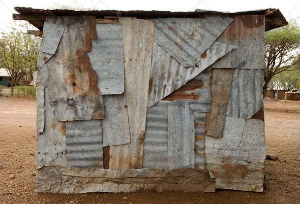 Little shop made with sheet metal, Africa, Tanzania - Stock Photo - Images
