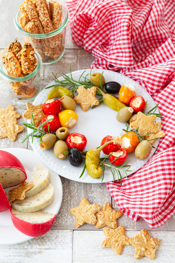 Colorful antipasti and cheese - Stock Photo - Images