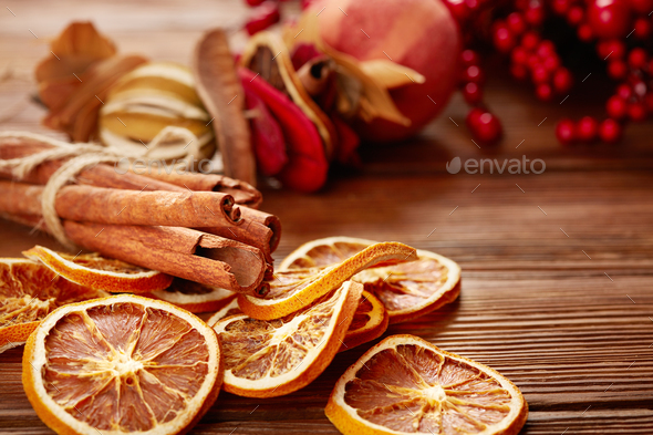 dry fruits and spaces for christmas mulled - Stock Photo - Images