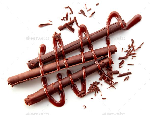 chocolate sticks on white background - Stock Photo - Images
