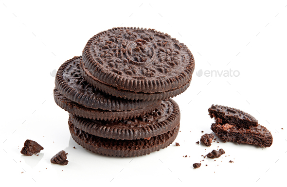 stack of chocolate cookies - Stock Photo - Images