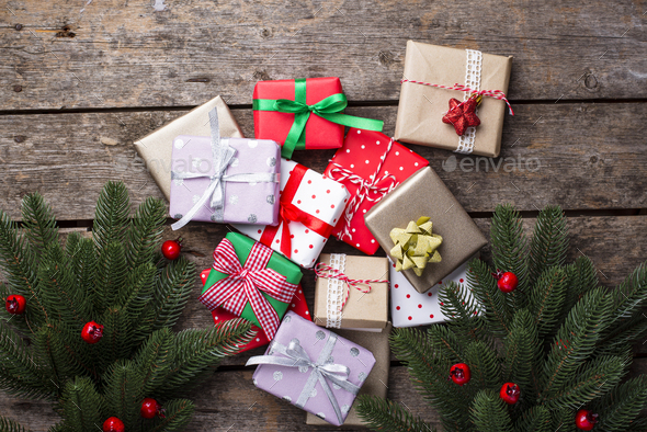 Christmas background with gift boxes - Stock Photo - Images