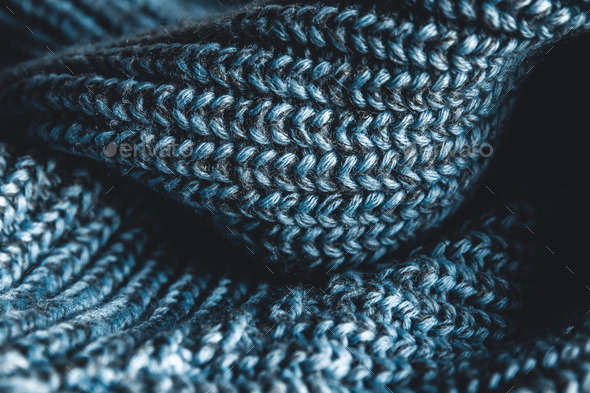 close up blue knitted pullover background - Stock Photo - Images