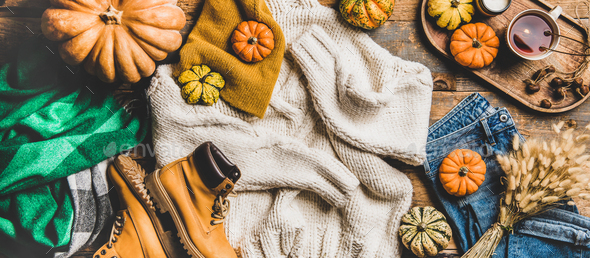 Flat-lay of fall trendy women outfit layout, wide composition - Stock Photo - Images
