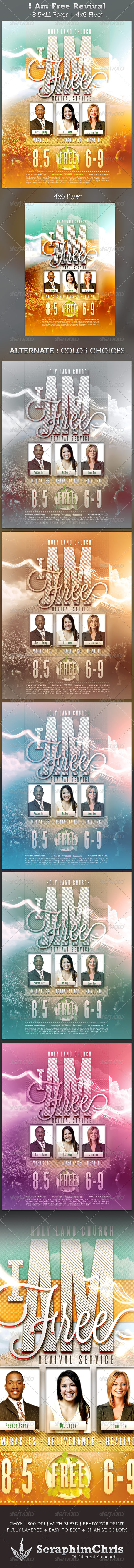 I Am Free Revival Flyer Full Page and 4x6 Template - Church Flyers