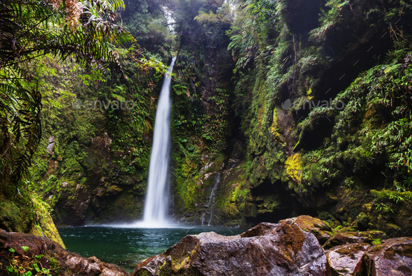 Waterfall in Chile - Stock Photo - Images