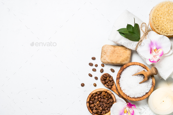 Natural Coffee cosmetic on white background - Stock Photo - Images