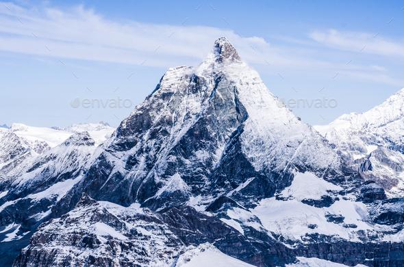 Matterhorn peak in Swiss Alps - Stock Photo - Images
