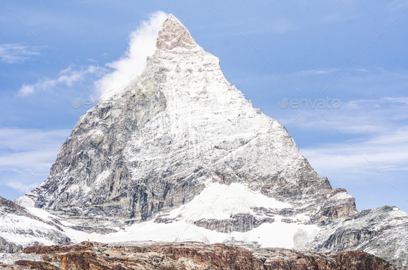 View of the Matterhorn from the Rothorn summit station - Stock Photo - Images