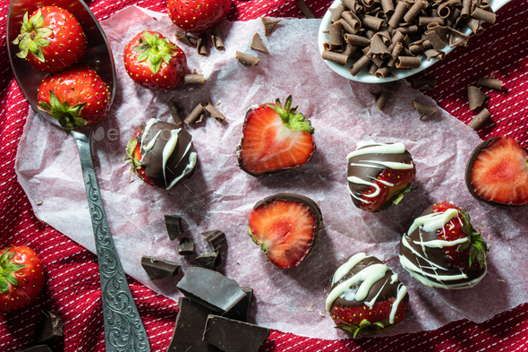 Chocolate Dipped Strawberries - Stock Photo - Images