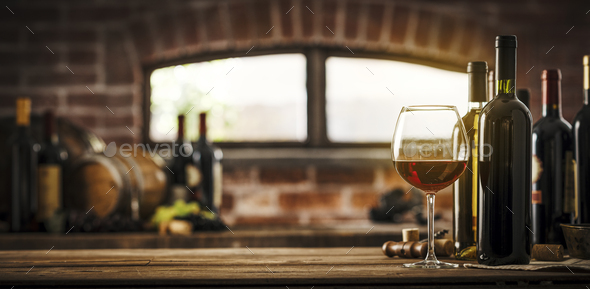 Collection of luxury wines in the cellar - Stock Photo - Images