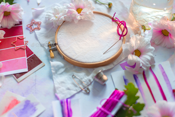 Embroidery frame header with flowers. Pink, white and purple pastel tones, copy space - Stock Photo - Images