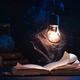 An open book with lighting by a star inside a lightbulb - PhotoDune Item for Sale
