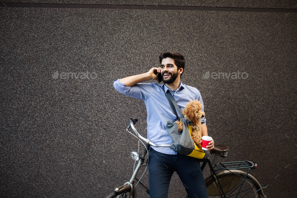 Lifestyle, transport, communication and people concept . Young man with bicycle and smartphone - Stock Photo - Images