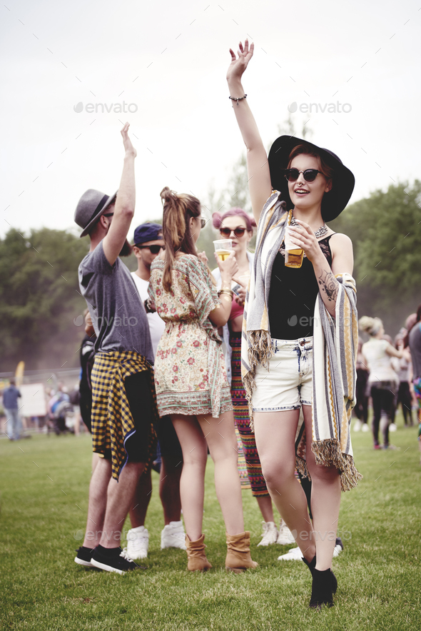 Group of friends dancing at the festival - Stock Photo - Images