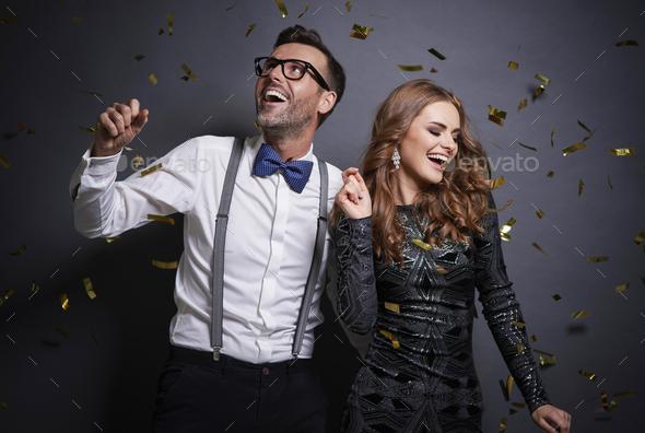 Couple dancing in studio shot - Stock Photo - Images