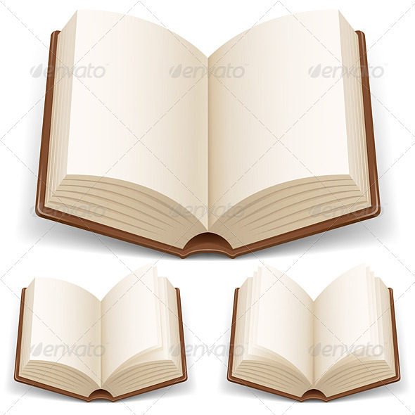 Open book with white pages - Man-made Objects Objects