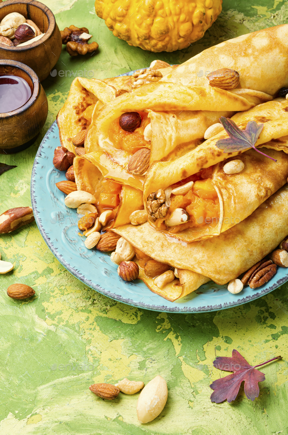 Homemade crepes with pumpkin - Stock Photo - Images