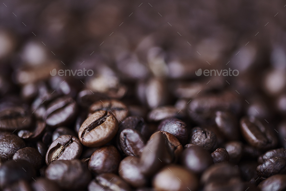 Close up of defocused bean of coffee - Stock Photo - Images